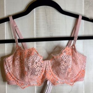 Victoria Secret peach and pink lace bralette